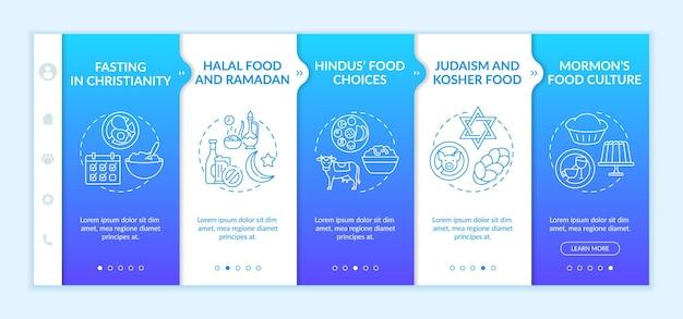 Eetcultuur in religies onboarding app mobiele sjabloon