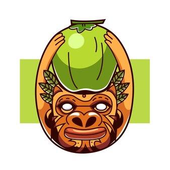 Eethnic mensen met kokosnoot