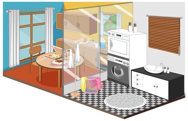 Eetkamer en wasruimte in isometrische stijl