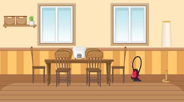Eetkamer interieur met meubels