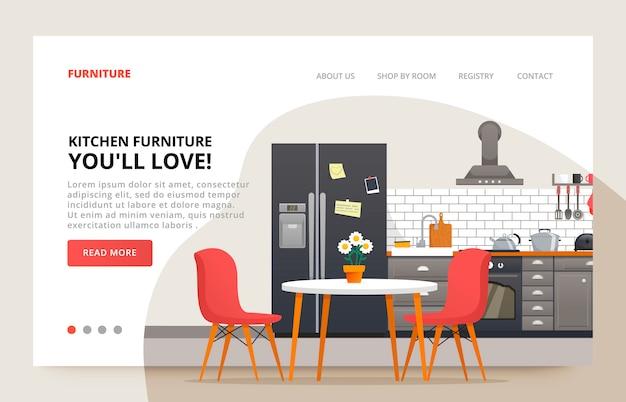 Eetkamer ontwerp. meubels site. keuken moder ontwerp. keuken interieur met meubels. illustratiedia voor meubelwebsite.