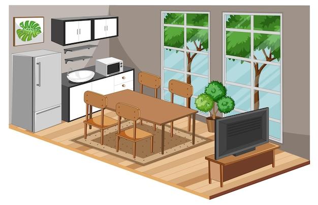 Eetkamerbinnenland met meubilair in moderne stijl