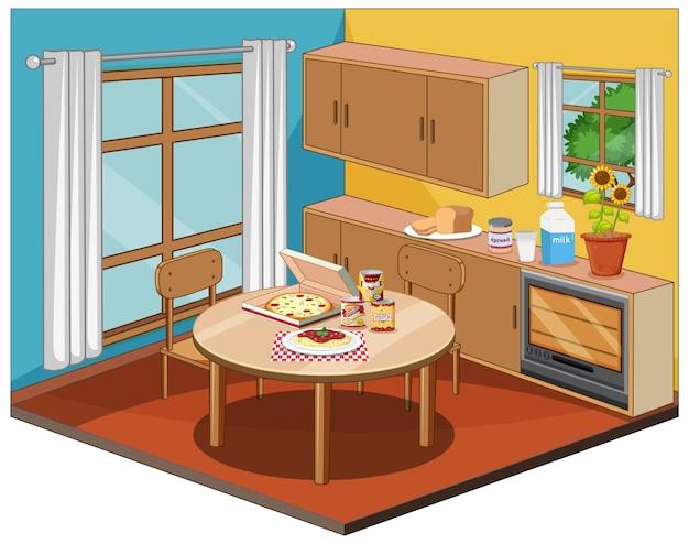 Eetkamerbinnenland met meubilair