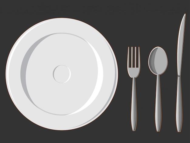 Eetset. bord, vork, lepel en mes