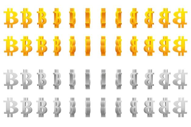 Effect animatie van gouden en zilveren metalen draaien bitcoin teken