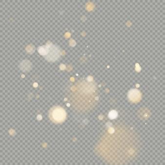 Effect van bokeh cirkels geïsoleerd op transparante achtergrond. kerst gloeiende warm oranje glitter element dat kan worden gebruikt.