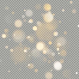 Effect van bokeh cirkels op transparante achtergrond. kerst gloeiende warm oranje glitter element dat kan worden gebruikt. Premium Vector
