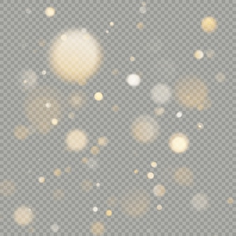 Effect van bokeh cirkels op transparante achtergrond. kerst gloeiende warm oranje glitter element dat kan worden gebruikt.