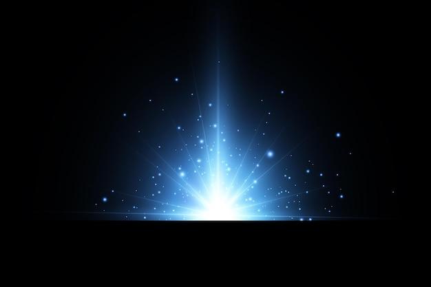 Effect van heldere gloed van blauwe sterren lichtdeeltjes