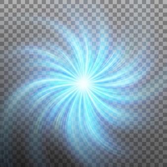 Effect van ster met flare licht met transparantie. transparante achtergrond alleen in