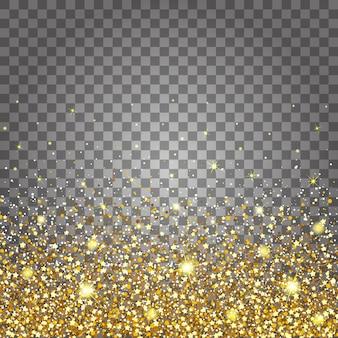Effect van vliegende delen goud glitter luxe rijke ontwerp achtergrond. lichtgrijze achtergrond onderaan. sterrenstof vonk de explosie op een transparante achtergrond