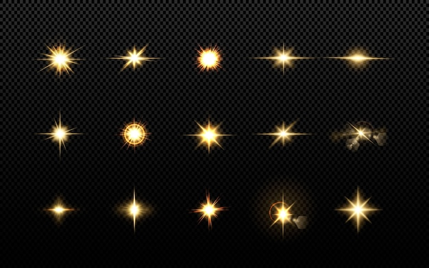 Effecten, lensflare, glans, explosie, gouden licht, set. stralende sterren, prachtige gouden stralen.