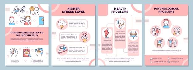 Effecten van consumentisme brochure sjabloon. psychologische problemen. flyer, boekje, folder afdrukken, omslagontwerp met lineaire pictogrammen. vectorlay-outs voor presentatie, jaarverslagen, advertentiepagina's