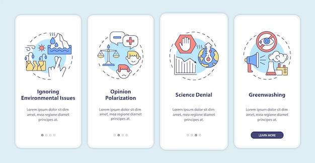 Effecten van klimaatscepticisme bij het aan boord gaan van het paginascherm van de mobiele app. wetenschap ontkenning walkthrough 4 stappen grafische instructies met concepten. ui, ux, gui vectorsjabloon met lineaire kleurenillustraties