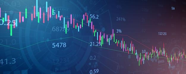 Effectenbeurs, economische grafiek met diagrammen, zakelijke en financiële concepten en rapporten, abstracte technologie communicatie concept achtergrond