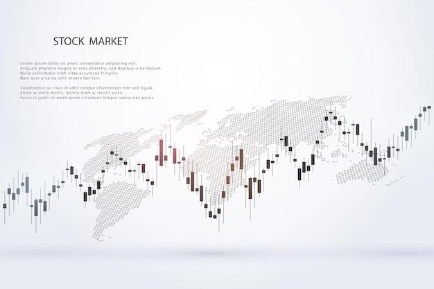 Effectenbeursgrafiek of forex handelsgrafiek voor zakelijke en financiële conceptenrapporten en investeringen op grijze achtergrond