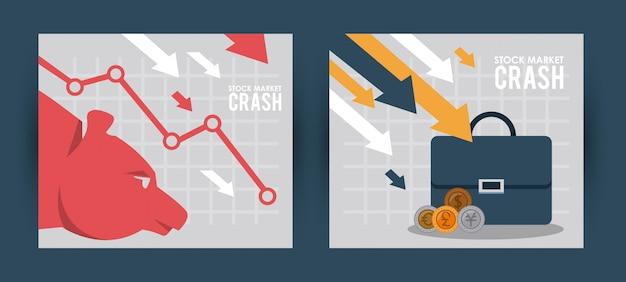 Effectenbeursneerstorting met portefeuille en infographic vectorillustratieontwerp