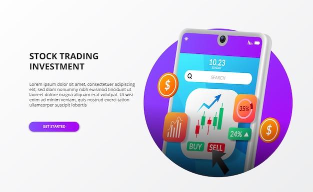 Effectenmakelaar-app voor handel of investering met 3d-telefoonillustratie met kandelaargrafiek kopen en verkopen