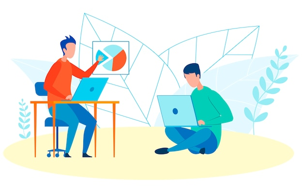 Effectenmakelaars op het werk platte vectorillustratie