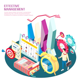Effectief managementconcept isometrische samenstelling bedrijfsdoelstellingen en werkprocesoptimalisatie met infographic elementen