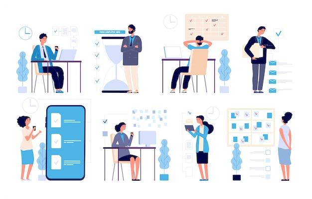 Effectief tijdbeheer. man beheerde taken, planning strategie georganiseerde activiteiten plannen geïsoleerde vector karakters