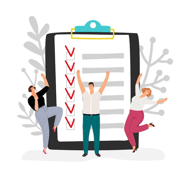 Effectief tijdbeheer. mensen voltooiden het businessplan. team verheugt zich taak gedaan vectorillustratie