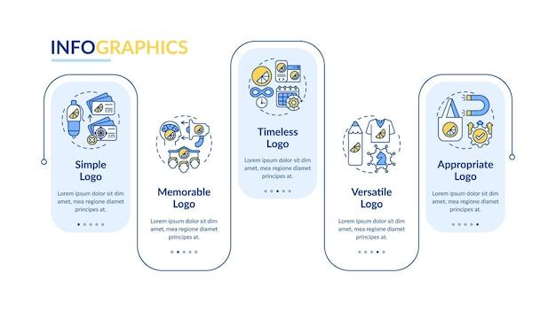 Effectieve logo-ontwerpsjabloon vector infographic. eenvoudige logo presentatie schets ontwerpelementen. datavisualisatie in 5 stappen. proces tijdlijn info grafiek. workflowlay-out met lijnpictogrammen