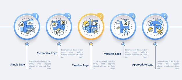 Effectieve logo-ontwerpsjabloon vector infographic. tijdloze logo presentatie schets ontwerpelementen. datavisualisatie in 5 stappen. proces tijdlijn info grafiek. workflowlay-out met lijnpictogrammen