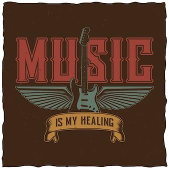 Effectieve muziekposter met woorden muziek is mijn genezing