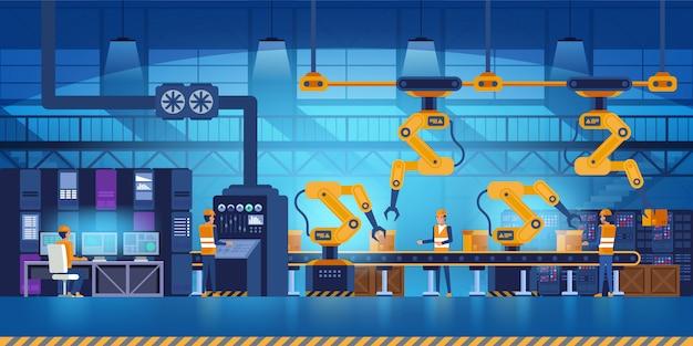 Efficiënte slimme fabriek met arbeiders, robots en assemblagelijn, industrie 4.0 en technologieconcept