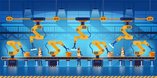 Efficiënte slimme fabriek met arbeiders, robots en lopende band, industrie 4.0 en technologieconceptenillustratie