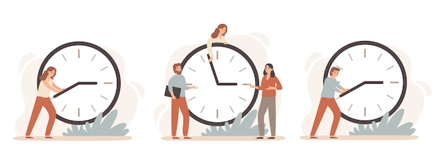 Efficiëntie werktijd. werkuren tarief, mensen uit het bedrijfsleven werken aan klokken en tijdbeheer deadline klok illustratie set