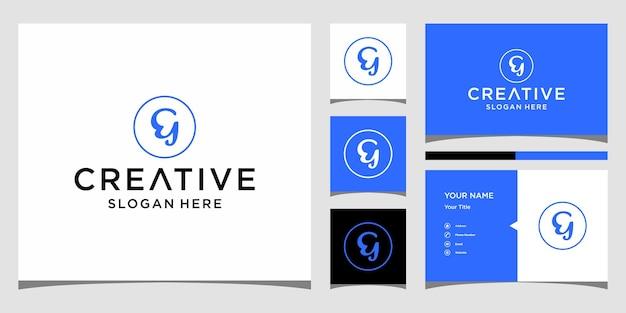 Eg-logo-ontwerp met visitekaartjesjabloon
