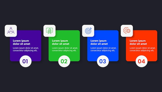 Egale kleur infographic met 4 opties
