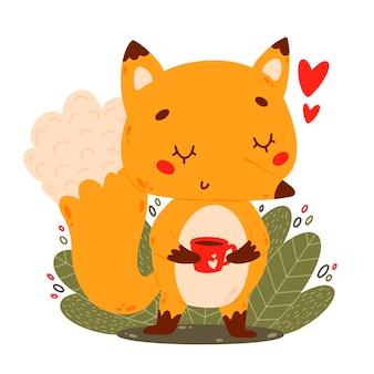 Egale kleuren vectorillustratie van schattige cartoon vos met koffiemok in doodle stijl