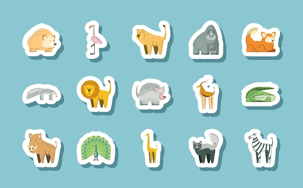 Egel gorilla leeuw zebra flamingo jungle dieren cartoon stickers pictogrammen illustratie