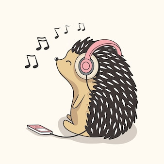 Egel luisteren muziek cartoon schattige baby stekelvarken