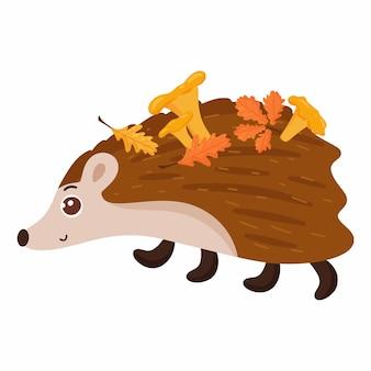 Egel met paddestoelen en herfstbladeren. bos dier. vectorbeeldverhaalstijl. geïsoleerd op een witte achtergrond.
