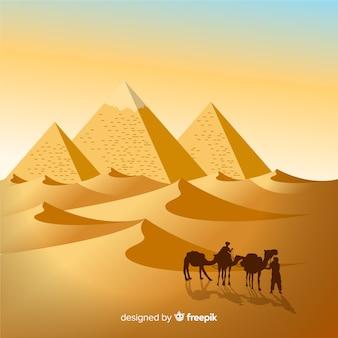 Egypte achtergrond met landschap in platte ontwerp