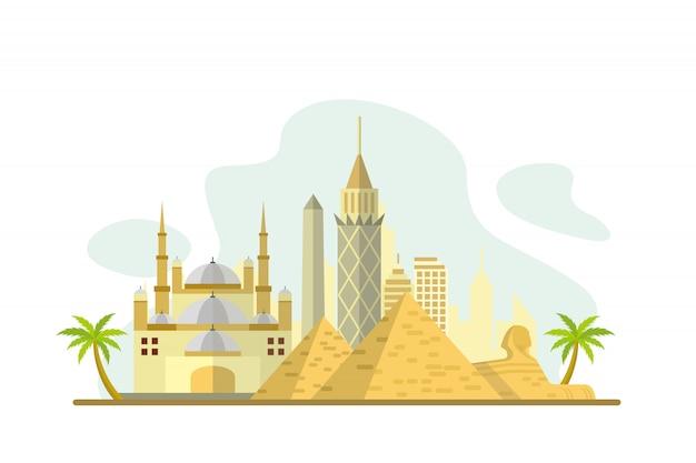 Egypte beroemde bezienswaardigheden achtergrond