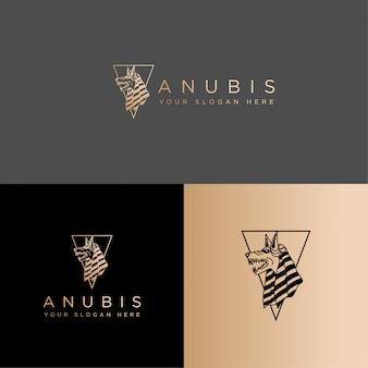 Egypte cultuur anubis logo lijntekeningen bewerkbare sjabloon Premium Vector