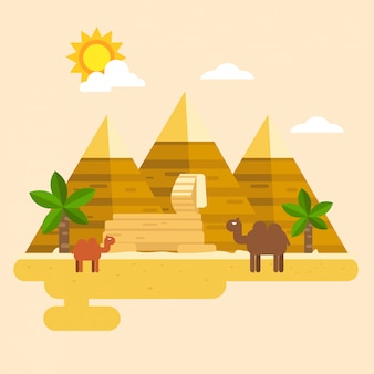 Egypte en piramide vector