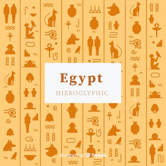 Egypte hiërogliefen achtergrond in plat ontwerp