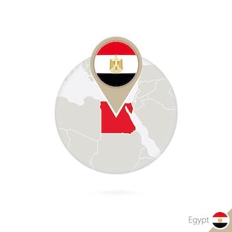 Egypte kaart en vlag in cirkel. kaart van egypte, de vlagspeld van egypte. kaart van egypte in de stijl van de wereld. vectorillustratie.