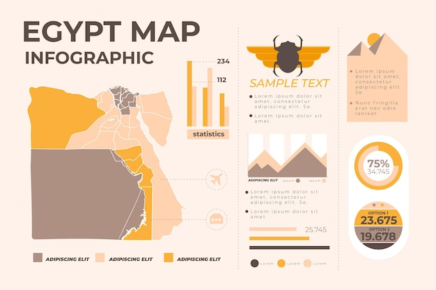 Egypte kaart infographic sjabloon