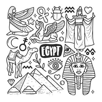 Egypte pictogrammen hand getrokken doodle kleuren
