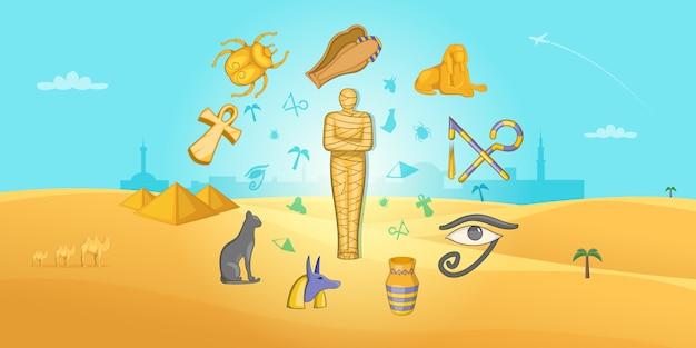 Egypte reizen horizontale achtergrond, cartoon stijl