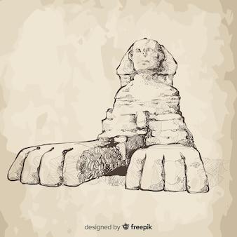 Egypte sfinx achtergrond hand getrokken stijl