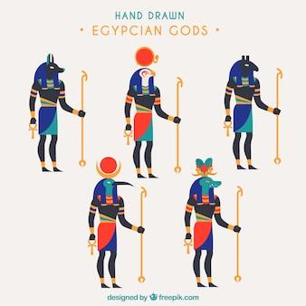 Egypte symbolen en goden collectie in de hand getrokken stijl