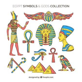 Egypte symbolen en goden in de hand getrokken stijl